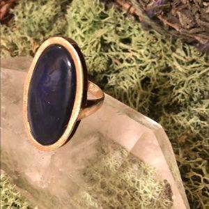 Stamped 18K gold Lapis Lazuli vintage 70s ring